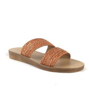 A. Giannetti Raffia Woven Slide Sandals 2 Strap